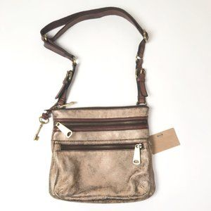 Fossil Explorer Crossbody Dusty Brown Gold Bag